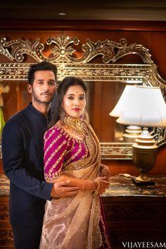 Sohini×Nikhil – VijayEesam&Co. Half Saree Designs, Pattu Saree Blouse Designs, Bridal Blouse Designs, Henna Designs, Wedding Saree Blouse, Saree Dress, South Indian Bride, Indian Groom, Indian Designer Wear