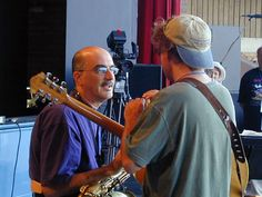 Michael Brecker and Pat Metheny during soundcheck at the 2000 Monterey Jazz Festival.    (Photo © TA Thompson)