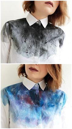 Painted shirts by Dariacreative | новая жизнь старой одежды | переделка | космос , рубашка