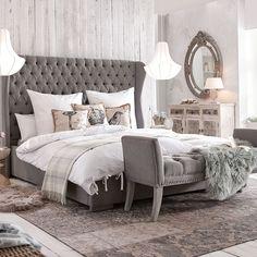 Polsterbett, Bett, grau, graues Polsterbett, Schlafzimmer, gemütlich Comforters, Blanket, Bed, Furniture, Home Decor, Gray, Creature Comforts, Homemade Home Decor, Blankets