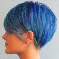 undercut hairstyle blue hair color
