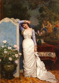 Auguste Toulmouche  (1829-1890)  Young Woman In An Interior