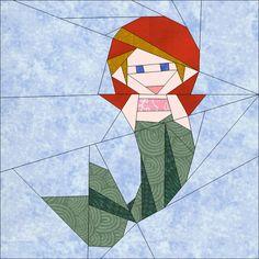 "Mermaid 10"" (25cm) paper pieced block quiltartdesigns.blogspot.com"