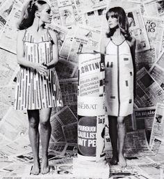 Models wearing paper dresses by Paco Rabanne, made from Vilbond and coloured adhesive tape, 1960s