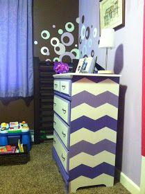 MinettesMaze: Th Purple People eater- Dresser Redo Furniture Making, Furniture Decor, Painted Furniture, Furniture Refinishing, Bedroom Themes, Girls Bedroom, Bedroom Ideas, Bedrooms, Dresser Ideas