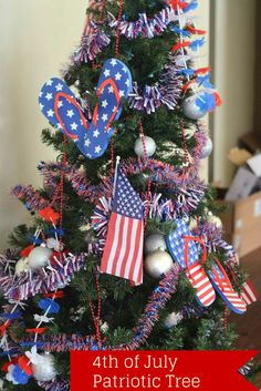4th of July Patriotic Tree - DIY July Tree for Summer Decoration