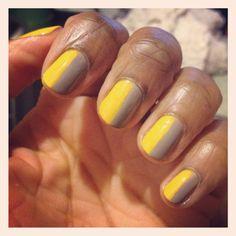 Simple nail art! Clean shape, mass appealing. Grey + yellow polish.