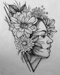 Drawing I did today! Would really like to tattoo it! Contact through www.DMTattoos.com #tattoos #floraltattoo #tattoodrawing #portraitattoo…
