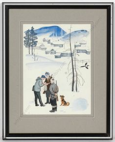 Three hunters with a dog in snowy winter landscape, with a small village behind them. Painting by Lev Michailovich Khailov, a very well-known Russian graphic artist and illustrator of the 20th century who made illustrations for more than 300 books during his career. His works can be seen in many museums in Russia and worldwide. ..For more details see ebay!  #FineArt #artforsale #antiques #originalart #christmas #christmasdecorations #winter #russianart #vintage #illustration… Russian Art, Winter Landscape, Book Illustration, Winter Christmas, Hunters, Gouache, Seasonal Decor, Museums, Illustrator