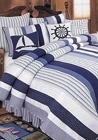 C&F Nantucket Dreams King Bedskirt Drop - Blue - King Nautical Theme Bedrooms, Coastal Bedrooms, Bedroom Themes, Bedroom Ideas, Anchor Wall Decor, Ocean Room, Beach House Decor, Home Decor, Blue Pillows