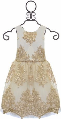 0fcfff67 Le Pink Bottega Dress for Girls with Lace in Gold Big Girl Clothes,  Children Clothes