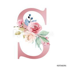 Floral alphabet, letter S with watercolor flowers and leaf. Monogram initials perfectly for wedding invitations, greeting card, logo, poster and other design. - Buy this stock illustration and explore similar illustrations at Adobe Stock Monogram Wallpaper, Alphabet Wallpaper, Design Floral, Floral Logo, Wedding Invitation Card Design, Wedding Invitations, Invitation Cards, Watercolor Lettering, Flower Letters