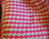 Pink Lemonade Bright Pink and white baby blanket.