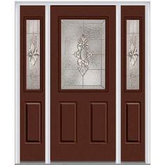 Milliken Millwork 64.5 in. x 81.75 in. Heirloom Master Decorative Glass 1/2 Lite Painted Fiberglass Smooth Exterior Door with Sidelites, Redwood
