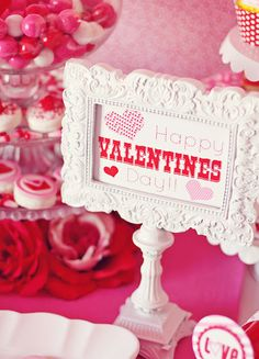 Amanda's Parties To Go: Valentines Party Table Ideas valentine's day event ideas. Amanda's Parties To Go: Valentines Party Table Ideas valentine's day event ideas Saint Valentine, My Funny Valentine, Valentine Banner, Valentines Day Party, Valentine Day Love, Valentines Day Decorations, Valentine Day Crafts, Valentine Ideas, Valentine Stuff