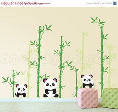 ON SALE Panda Wall Decal Pandas and Bamboo by InAnInstantArt
