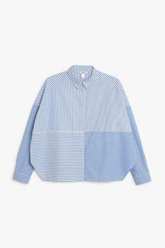 Monki Image 1 of Hidden button cotton blouse  in Blue