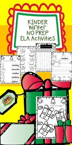Kindergarten Winter NO PREP ELA Activities...Letter to Santa, Color Recognition, Alphabet Match, Winter Word Search and More! Great Festive Fun for December Literacy Centers!