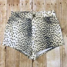 "BDG high rise ""dree""'leopard shorts So in right now these WILL be cheeky so be aware; side length is 10.5"" waist to crotch inseam is 12.5"" BDG is sold at urban outfitters these still have back tag BDG Shorts Jean Shorts"