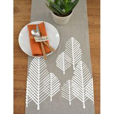 Moroccan Tile Modern LInen Table Runner   Natural / White