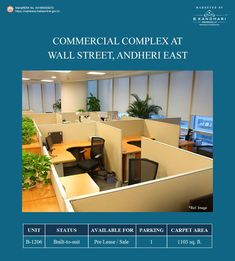 Built to suit office spaces available for Pre-lease/ sale at Wall Street, Andheri East Carpet Area - 1103 sq. Car Parking - 1 For further details kindly contact:- Mr. Commercial Complex, Space Available, Office Spaces, Wall Street, Car Parking, Mumbai, Property For Sale, Carpet, Real Estate