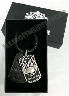 Men s Harley-Davidson Immunity Flaming willie G Skull Dog Tag Pendant Necklace