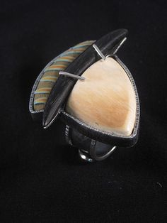 In Between  Moons  Intriguing-the dark between moons. Sterling Silver Mammoth Ivory Ebony Polymer.  PRICE $350