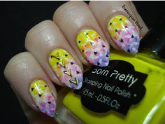 I was looking at my little collection of stamping polishes, while trying to choose a few to create some other manicure, I decided to just . Triangle Nail Art, Stamping Nail Polish, Manicure, Nails, Neon, Nail Bar, Ongles, Nail Manicure, Finger Nails