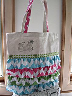 Eco Friendly Grocery Market Shopping Tote  Bag Ruffels Hand Stamped Embroidered. $30.00, via Etsy.