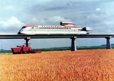 The Aérotrain | 1965-1977 The Aérotrain was a Hovertrain developed in France from 1965 to 1977. The project was abandoned in 1977 due to lack of funding, the death of lead engineer Jean Bertin, and the adoption of TGV (Train à Grande Vitesse = High Speed Train) by the French government. http://midcenturymodernfreak.tumblr.com/post/61212481881/the-a%C3%A9rotrain-1965-1977-the-a%C3%A9rotrain-was