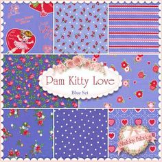 Pam Kitty Love 8 FQ Set - Blue by Pam Vieira-McGinnis for Lakehouse Dry Goods
