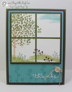 Cut your stamped image into 4 squares to create the effect of a window, as seen on this handmade thank you card. The Sheltering Tree really looks like it's outside. I love the same-color ink and paper on the base sheet.