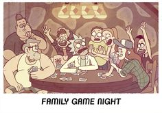 """""""it may not be perfect."""" —- Stanchez Appreciation Week Day Domestic Life Family Game night with the Grunkles and Grandkids. (Ford is taking the pic I guess lmao) Gravity Falls Crossover, Gravity Falls Au, Fandom Crossover, Cartoon Crossovers, Cartoon Tv, Justin Roiland, Shows Like Gravity Falls, Rick And Morty Crossover, Ricky Y Morty"""