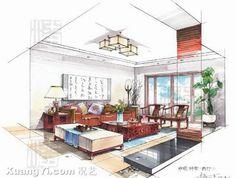 Innenarchitektur skizze wohnzimmer  restaurant rendering! Lovely! I always thought of doing commercial ...
