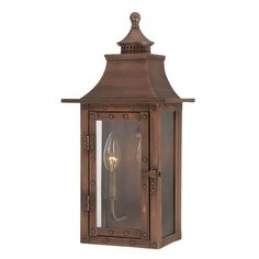 St. Charles Small Wall Lantern With Copper Patina Finish Acclaim Lighting Post Mounted Out