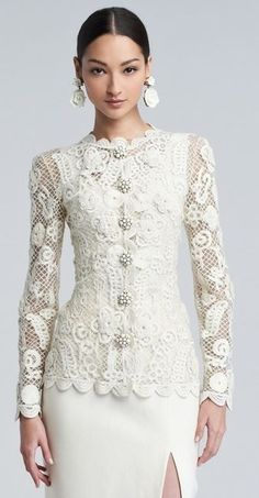 Mother of the Groom Dress. Long Sleeve Evening Wear for Mother of the Bride. This haute couture formal wear piece can be easily recreated for you. Get pricing and more info about long sleeve evening wear for the wedding at – Dress Archive Style Couture, Couture Fashion, Lace Jacket, Costume, Embroidered Lace, White Fashion, Fashion Details, Style Fashion, Beautiful Outfits