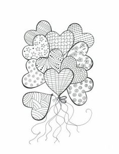 Heart balloons with patterns colouring in, mandala coloring, coloring books, easy mandala drawing Heart Coloring Pages, Colouring Pages, Adult Coloring Pages, Coloring Books, Heart Doodle, Doodle Art, Zentangle Patterns, Embroidery Patterns, Zen Doodle Patterns