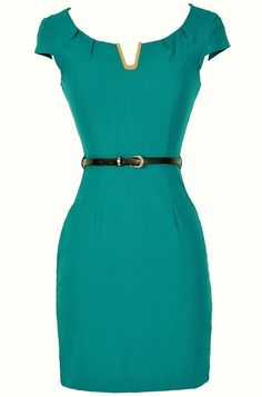 Lily Boutique V for Victory Belted Pencil Dress in Teal, $32  www.lilyboutique.com