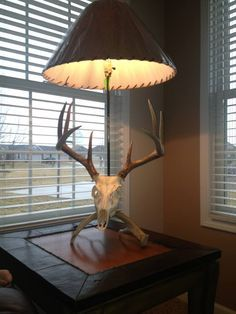 Euro mount lamp | European mount lamp, with the arrow used to kill the deer. I love this ...