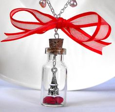 J'aime Paris necklace- Paris inspired necklace, miniature bottle filled with polymer clay hearts and a hanging Eiffel tower