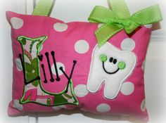 Girls Tooth Fairy Pillow  Polka Dot by SandDStitches on Etsy, $22.00
