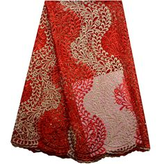 High Quality French Lace Fabric Red Color Nigerian Wedding Lace Fabric With Beaded.African Lace Fabric With Nice Flower