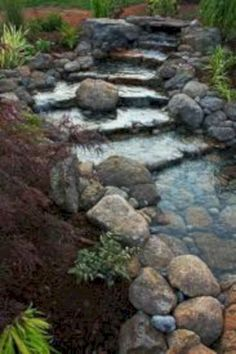 Cool 62 Stunning Ideas for Garden Pond Waterfall Designs. More at https://trendecor.co/2017/10/23/62-stunning-ideas-garden-pond-waterfall-designs/