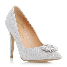Head Over Heels Ladies BELLAA - Pointed Toe Jewel Trim Court Shoe - silver   Dune Shoes Online