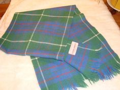 Lochcarron Scottish 100% New Lamb's Wool Tartan Plaid Green & Lavender Scarf #LochcarronScotland #Scarf