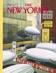 """The New Yorker - Monday, August 16, 1993 - Issue # 3573 - Vol. 69 - N° 26 - Cover """"Blimp Park"""" by Bruce McCall"""