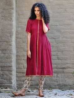 Maroon-Beige Gota Embellished Pleated Cotton Kurta with Natural Dyed & Block Printed Elasticated Waist Cotton Pencil Pants Set of 2