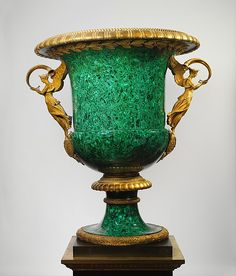 The Malachite - Demidoff  vase. Once in the Gilded  Age mansion of William Henry Vanderbilt, 640 Fifth Ave. NYC.  Grace Wilson Vanderbilt sold it to the Metropolitan Museum of Art, in c.1944. ~~ (metmuseum) ~~ {cwl}