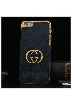 Coque Cuir iPhone 6 Gucci,étui luxe iPhone6 4.7 pouce -noir