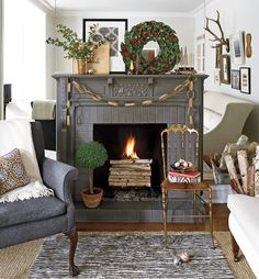 Mantle. I like the paper chains and the wood piled up in the front of the fire